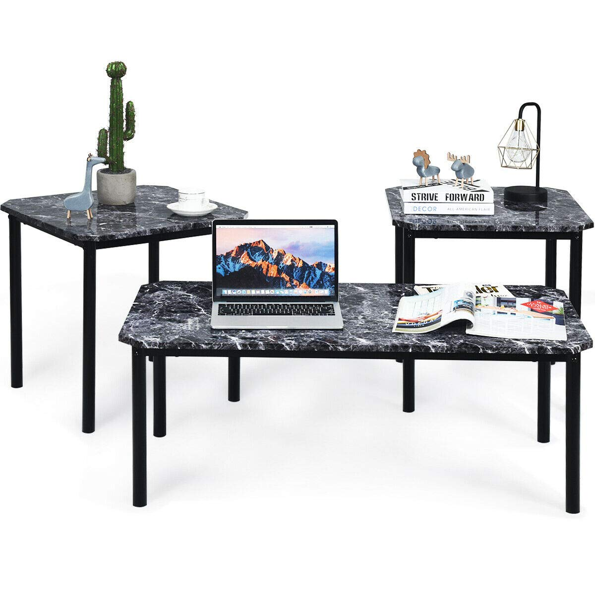 Tangkula 3 PC Coffee Table Set, Modern Faux Marble-Look Top End Table Set, Home Living Room Furniture Indoor & Outdoor Décor Coffee Table Set, End Table Set by Tangkula