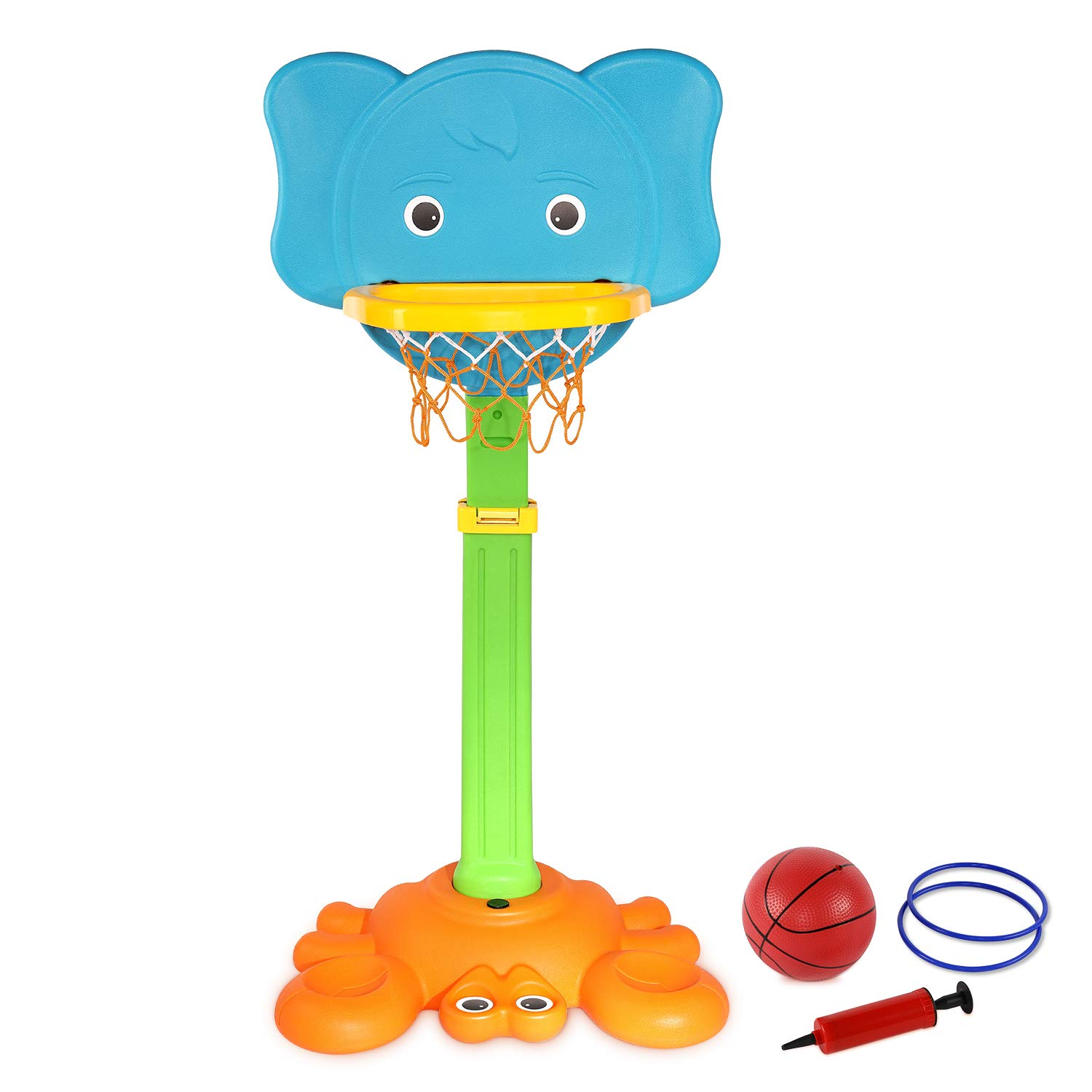 AuAg, 2 in 1 Basketball Hoop, Toddler Easy Score Basketball Hoop and Target Game Set, with Pump, Adjustable Height, Indoor-Outdoor, Stable, Durable, Colourful, Multifuctional, Gift for Boys &Girls by AuAg