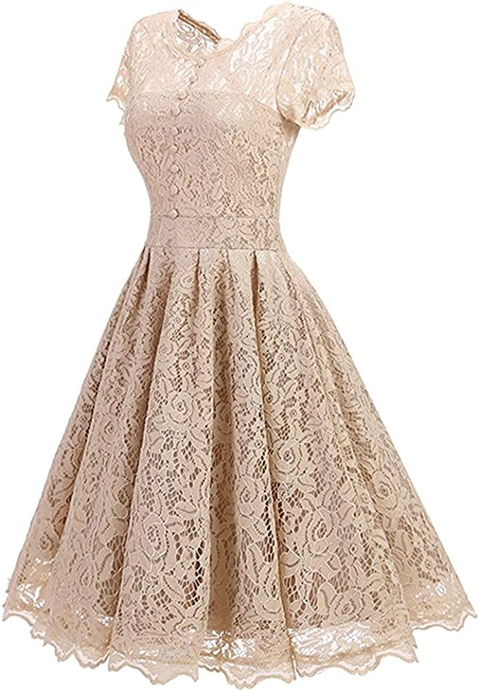 BeneGreat Womens Vintage Floral Lace Rockabilly Cocktail Party Swing Dress