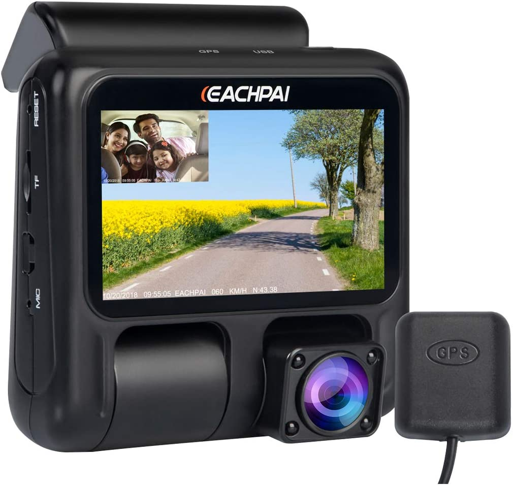EACHPAI Dual Dash Cam X100 1080p 1080p Dash Cameras Front and Inside, 3 Dashboard Camera with GPS,IR Night Vision, WDR,Motion Detector,Loop Recording for Uber Lyft Truck Taxi Free 32GB Card