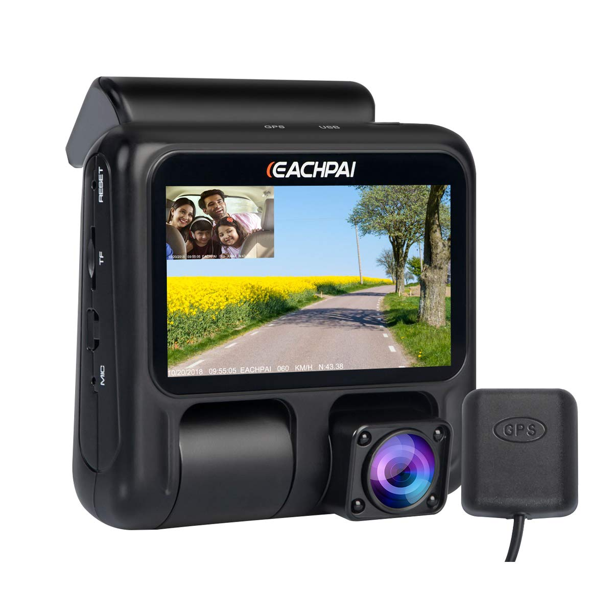 Dual Dash Cam,EACHPAI X100 Pro Dash Camera Inside and Front for Cars//Truck//Taxi 1920X1080P Dashboard Camera,IR Night Vision,Super Capacitor,Wide Angle,Loop Record,WDR,GPS,32G Kingston Card