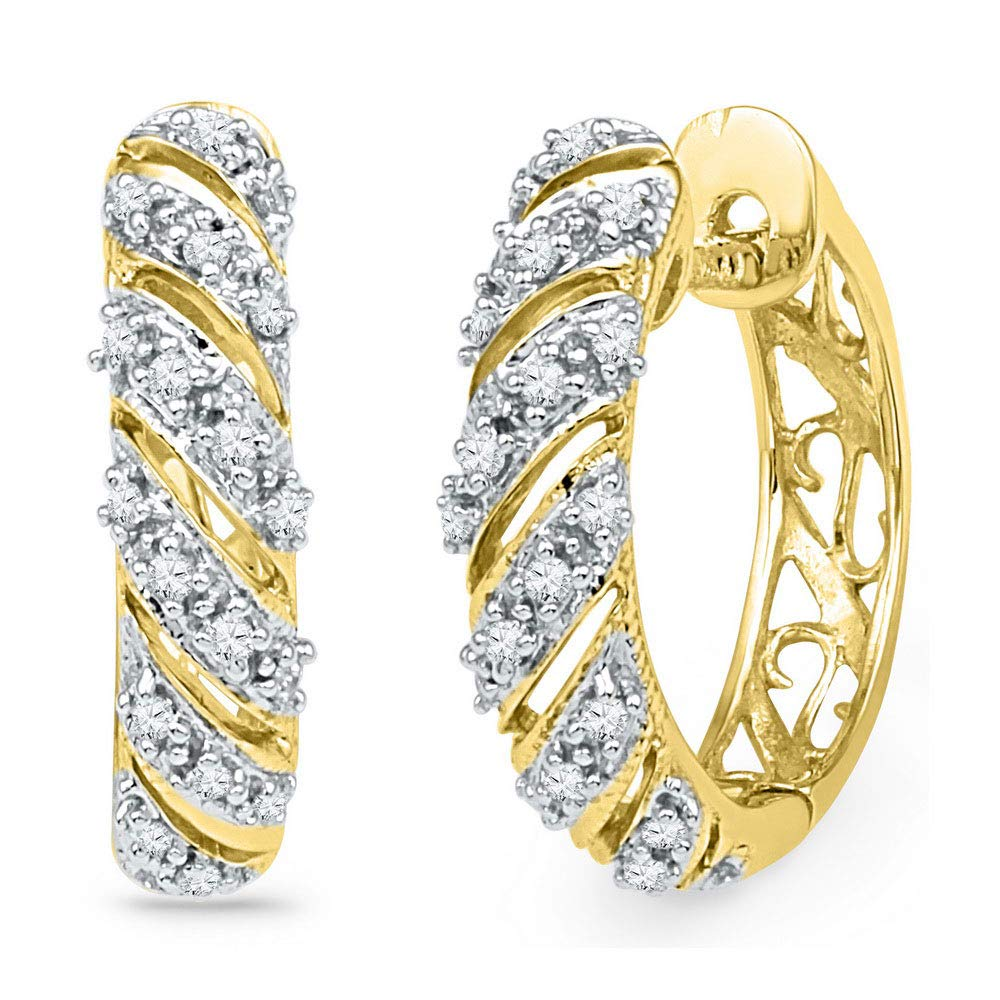 10or jaune doré pour femme rond Diamant diagonale à rayures Boucles d\'oreilles créoles 1/6CT TW