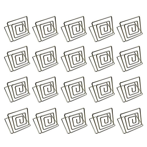 CSPRING Wire Place Card Photo Square Holders Stands Memo Note Paper Clips For Weddings Table Use, Silver, 20PCS