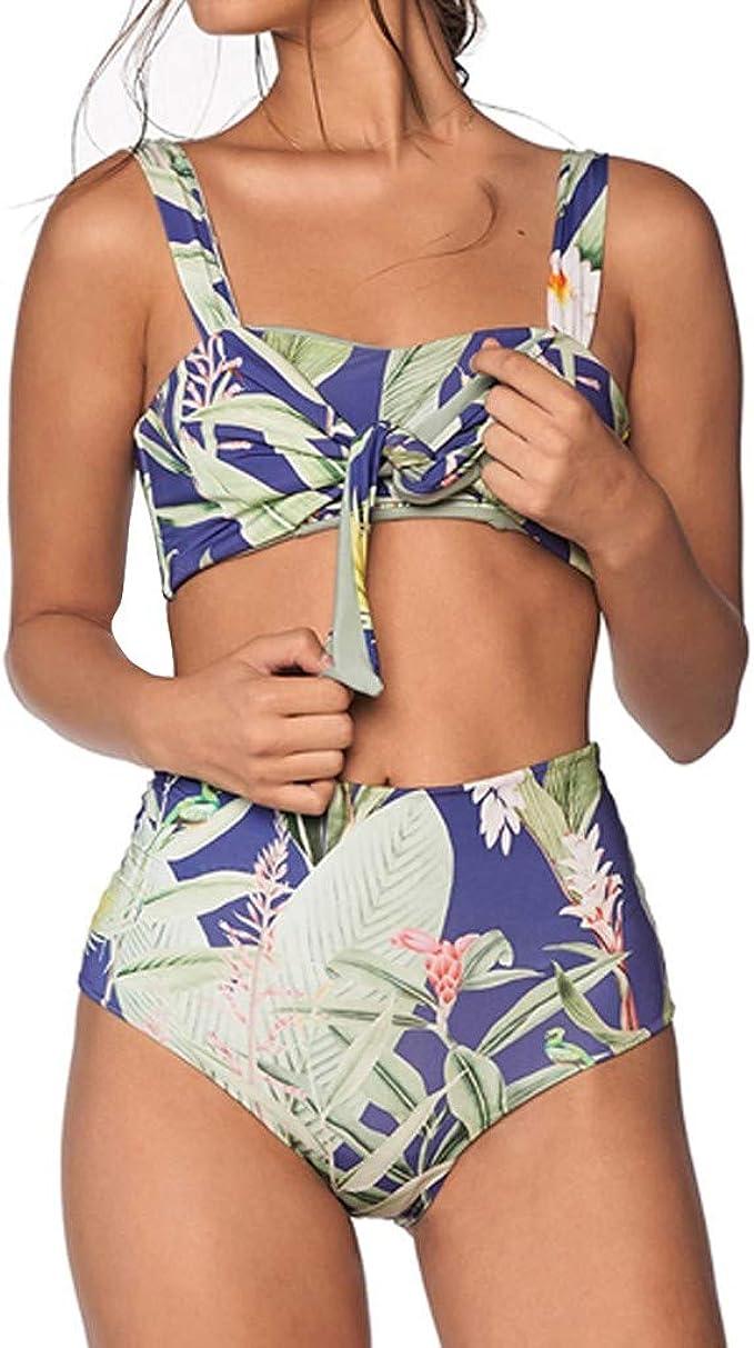 Amazon.com: Traje de baño sexy de cintura alta de dos piezas ...