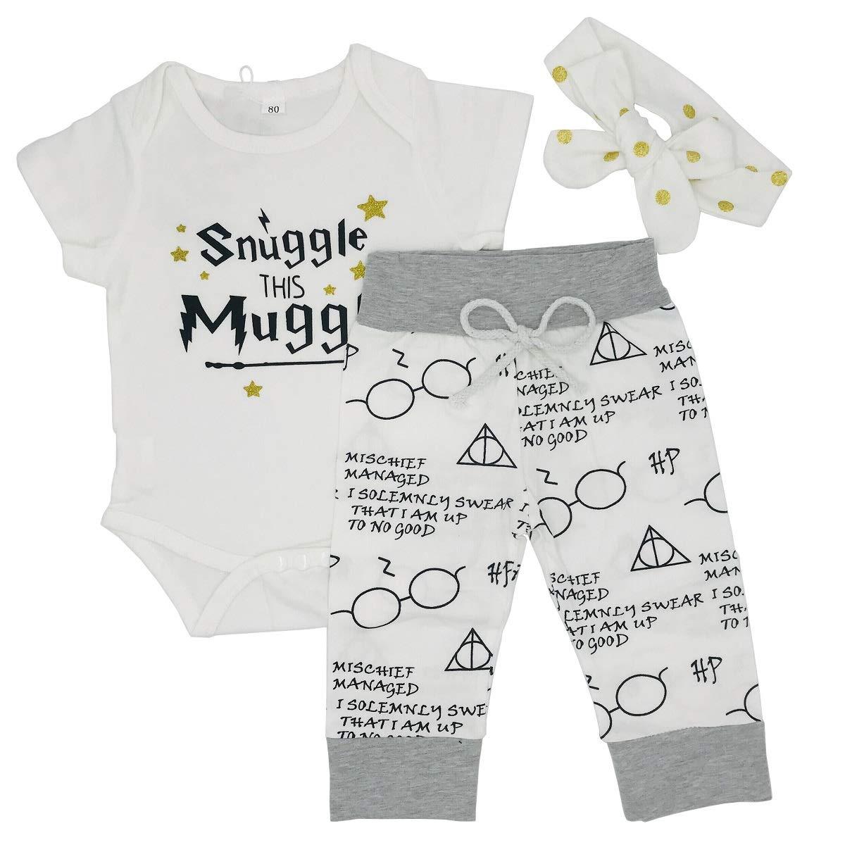 d9bfaf5e MOLYHUA Toddler Girl's Boys Clothes, 3Pcs Infant Kids Snuggle This Mugg  Romper Shorts Headband Outfits Set
