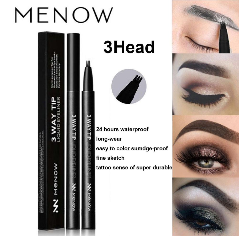 LiPing 4 Colors Flower Music Make-up Makeup Pen Eyebrow Liquid Proof Water Tattoo Super Fine Sketch | Healthy Eyebrow Coloring (Black)
