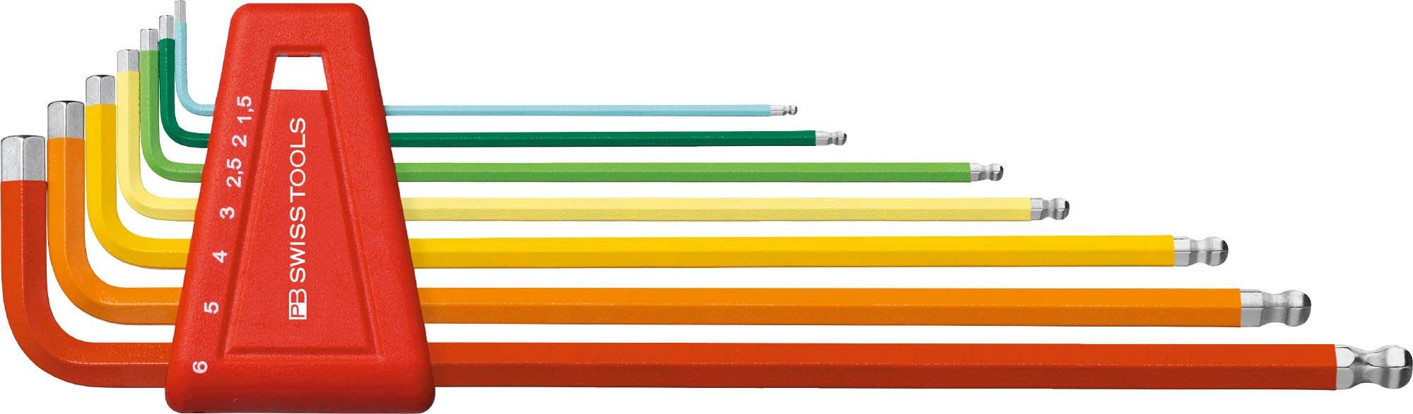 PB Swiss Tools PB 212LH-6 RB Ballend Hex Key Set long rainbow