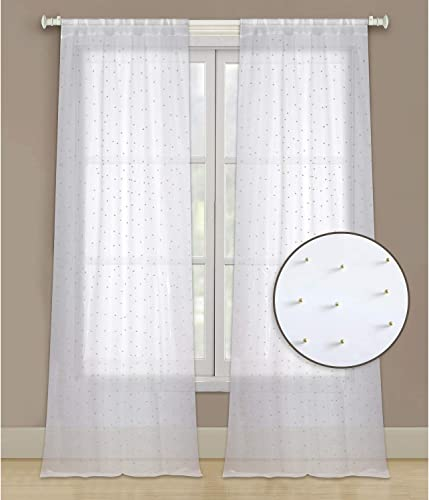HowPlum 96-in. Sheer 2-Panel Window Curtains Rod Pocket Drapes for Bedroom, Living Room, and Dining Room, White with Gold Beads