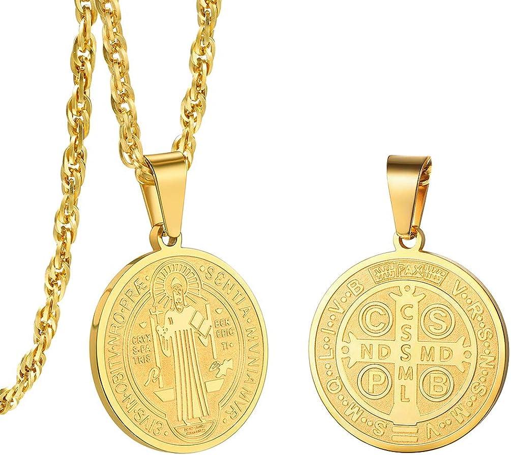 PROSTEEL Collar de Placa de San Benito con Cruz Hueca Diseño Simple de Acero Inoxidable Plateado/Dorado/Negro 60cm Ajustable