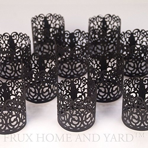50 PCS Flameless Tea Light Black colored laser cut decorative wraps Flickering LED Battery Tealight Candles (not included) by (Votive Wraps)
