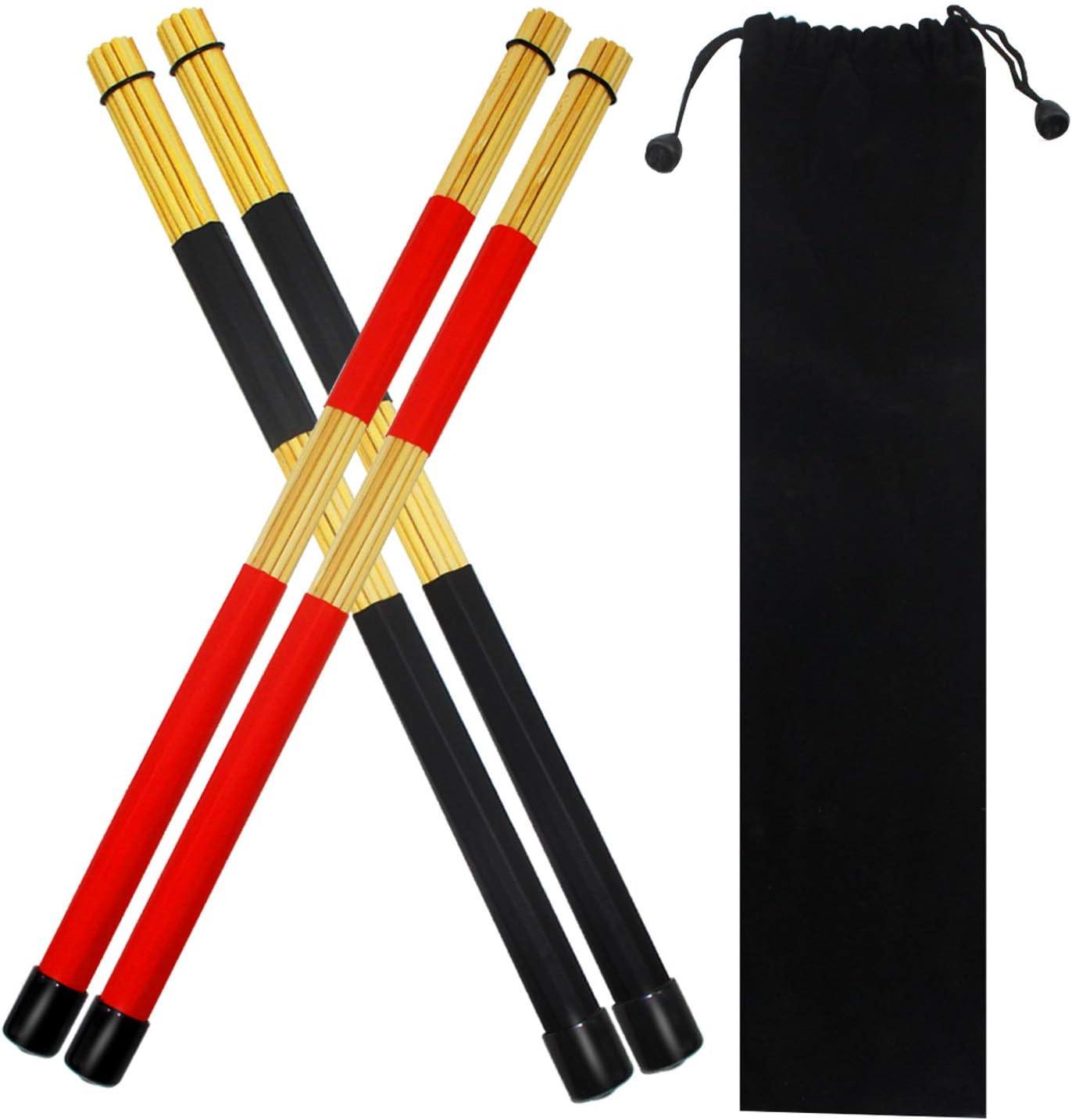 Weimeet 2 Pieces Drum Sticks Brushes Hot Rods Rute Jazz Drumsticks