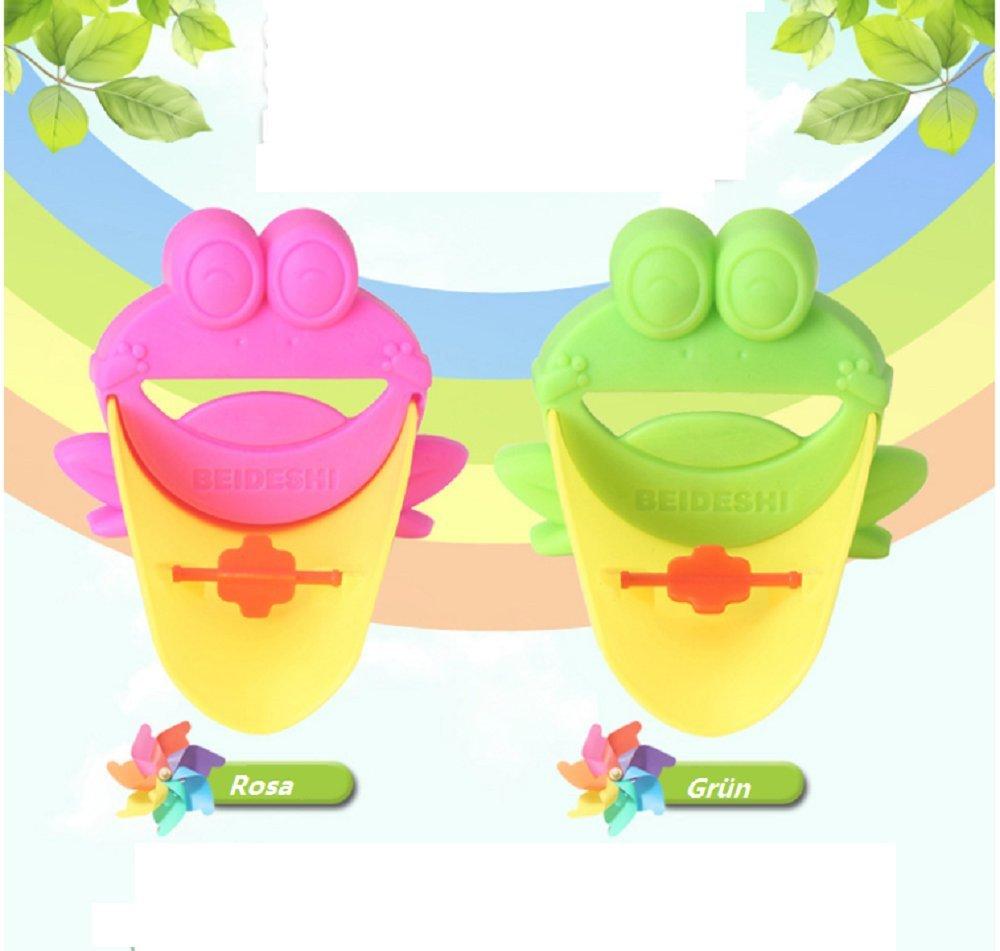 bebé Kids Cute handwashing extensor de grifo lavado grifo Extender animal rana (verde y rosa) S.D. Maket