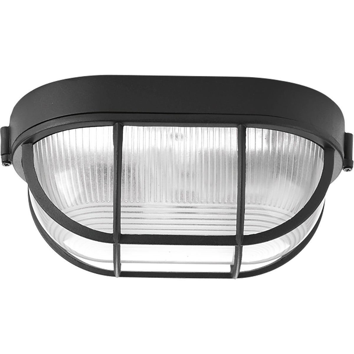 Progress Lighting P3706-31 Transitional One Light Flush Mount from Bulkheads Collection in Bronze/Dark Finish, 5.00 inches, Black