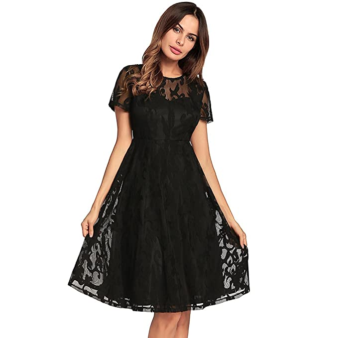 kemosen Women Round Neck Elegant Short Sleeve Lace Dresses Retro Floral  Formal Swing Evening Party Dress 9a008a8b4