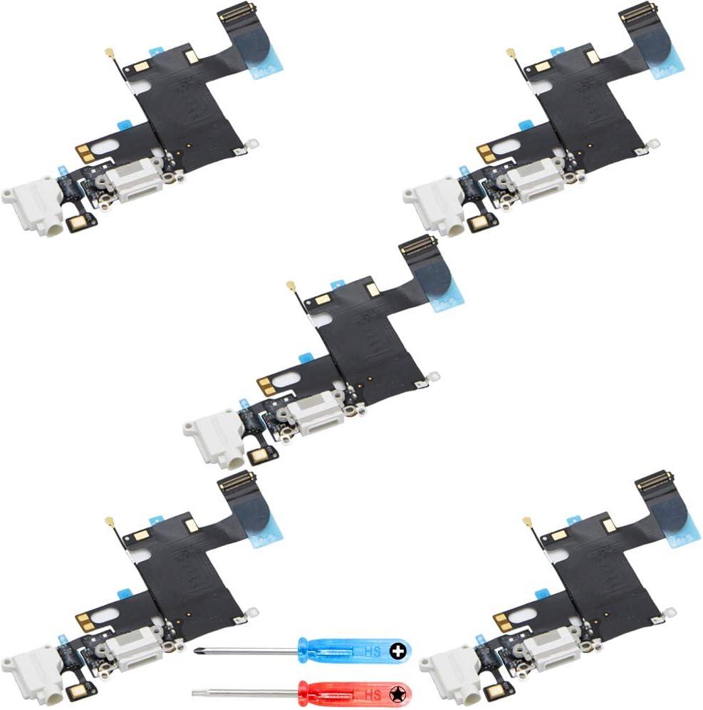 MMOBIEL Paquete de 5 Repuesto Conector Dock de Carga Compatible con iPhone 6 (Blanco), Incl. 2 X Destornilladores