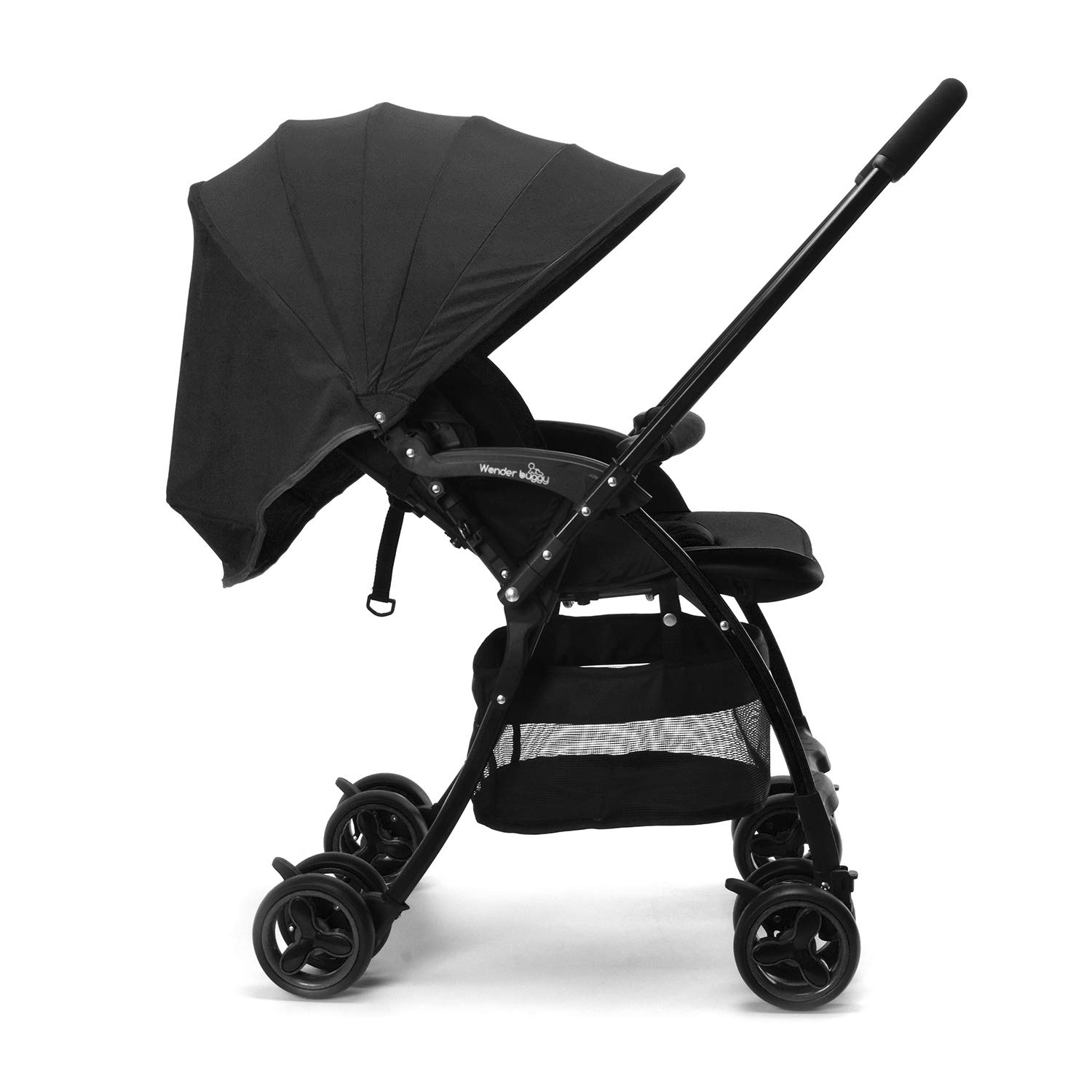 Wonder buggy Lightweight Baby Stroller with Reversible Handle, Easy Foldable and Collapsible (Black)