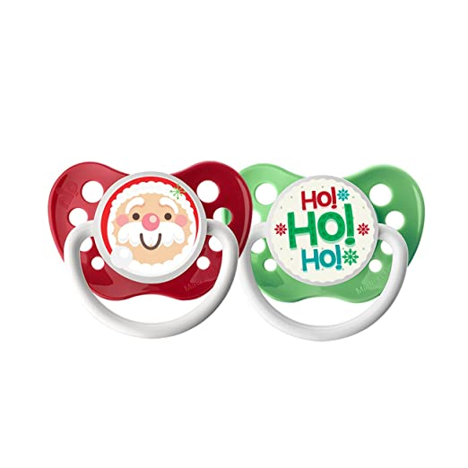 Ulubulu Holiday Pacifier, Christmas Santa Claus and HoHoHo, 6-18 Months