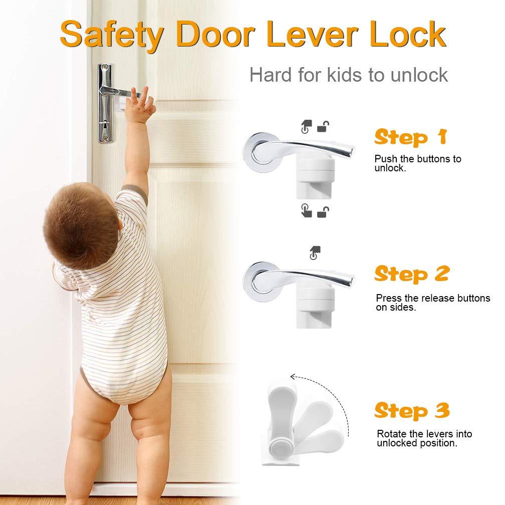 Juego de 4 cerraduras para puerta de seguridad infantil SACONELL a prueba de beb/és