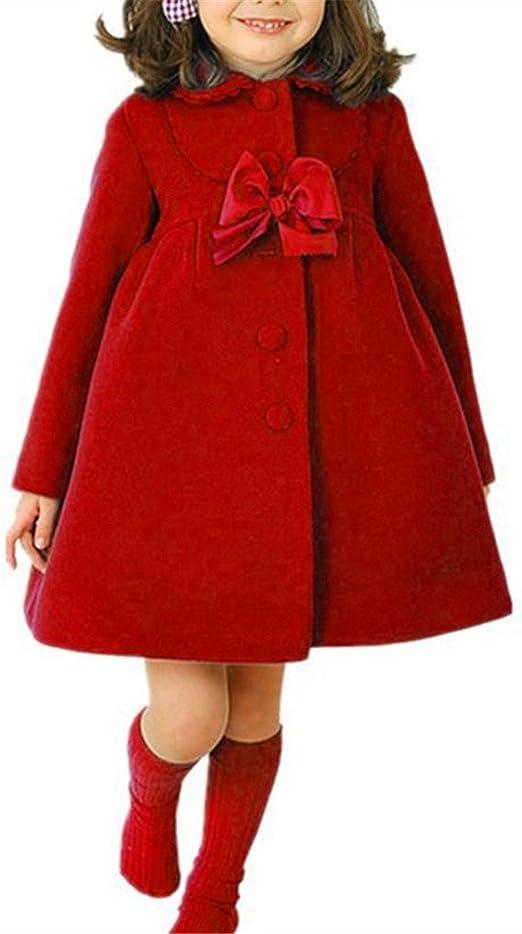 Toddler Kids Baby Girls Warm Wool Bowknot Trench Coat Overcoat Outwear Jacket