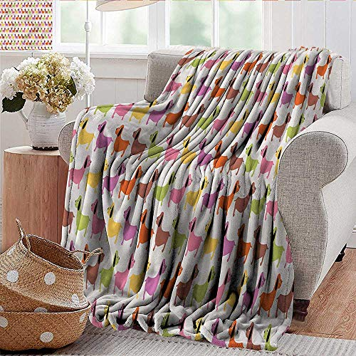 Xaviera Doherty Bed Blanket Dachshund,Colorful Puppy Motif for Bed & Couch Sofa Easy Care 30