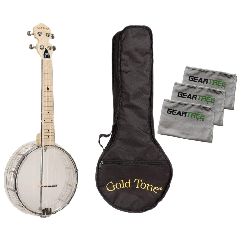 Gold Tone Little Gem Diamond Banjo Ukulele Bundle w/Bag & Cloth Pack