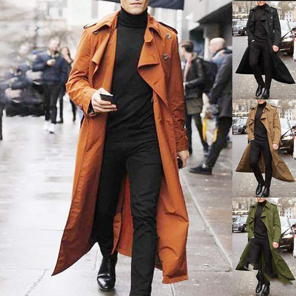 keepmore Trench-Coat Classique Homme Longs Manteau Militaire Cargo Britannique Noir