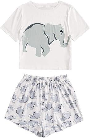 DIDK Pijamas Mujer Verano Corto del Pijamas Pantalones Manga Corto 2 Piezas de Ropa de Dormir Algodón Suave Loungewear