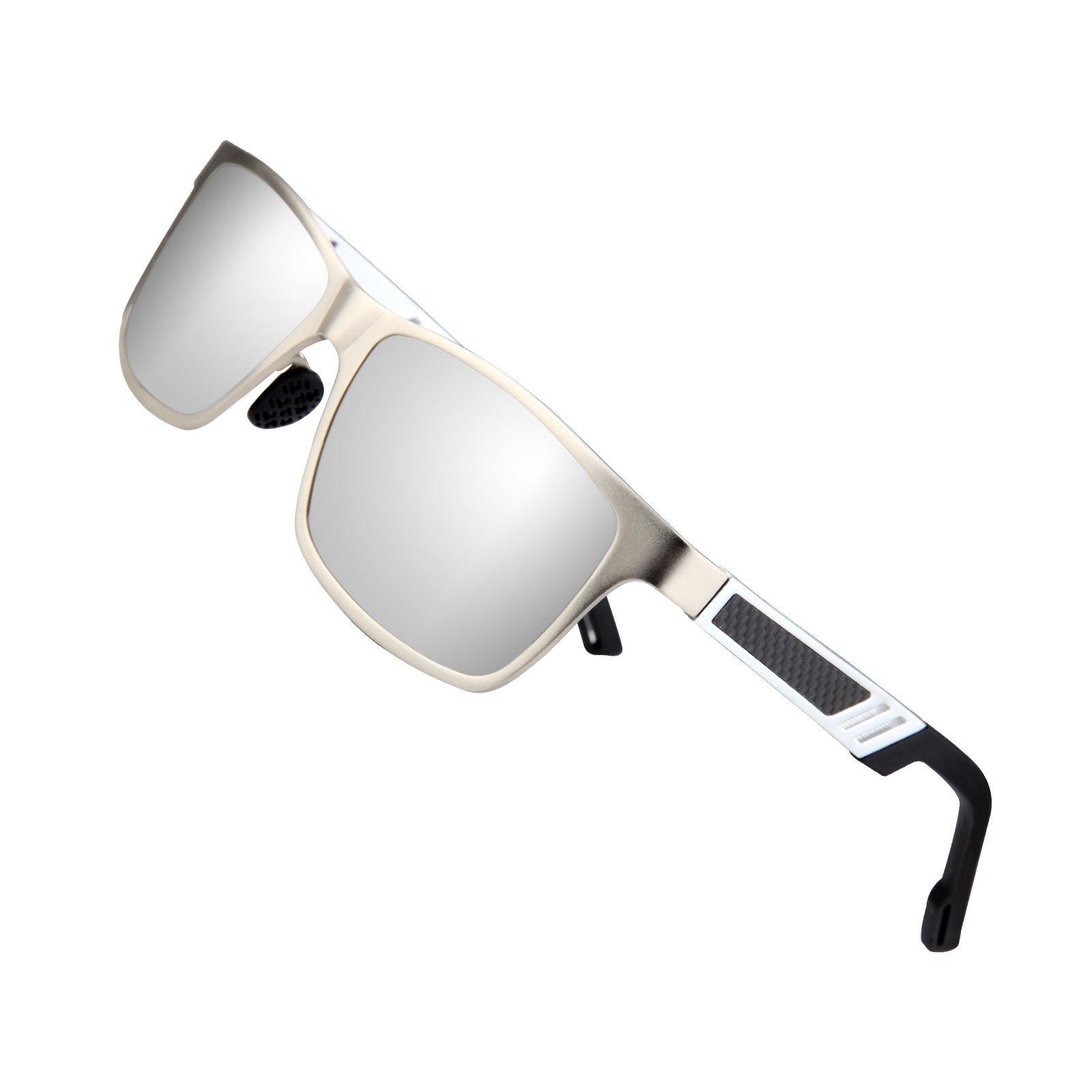 Sports Polarized Sunglasses for Men Driving Fishing Running Wayfarer Vintage Al-Mg Metal Frame Sun Glasses Silver
