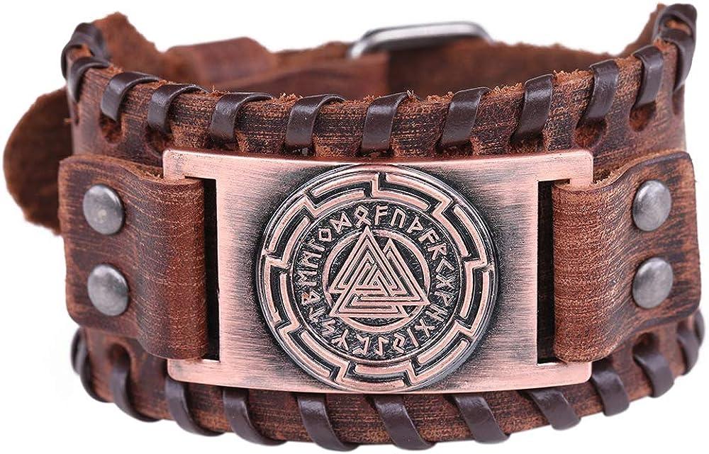 Pulsera de cuero marrón con el símbolo de Odin's de 24 runas vikingas y amuleto vintage