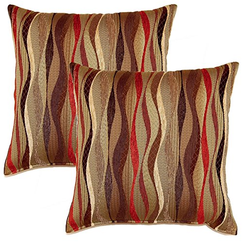 New Wave, (Set of 2) Brick 17- Inch Throw Pillows