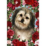 Best of Breed Valentines Roses Garden Size Flag – Silver and Black Yorkipoo For Sale
