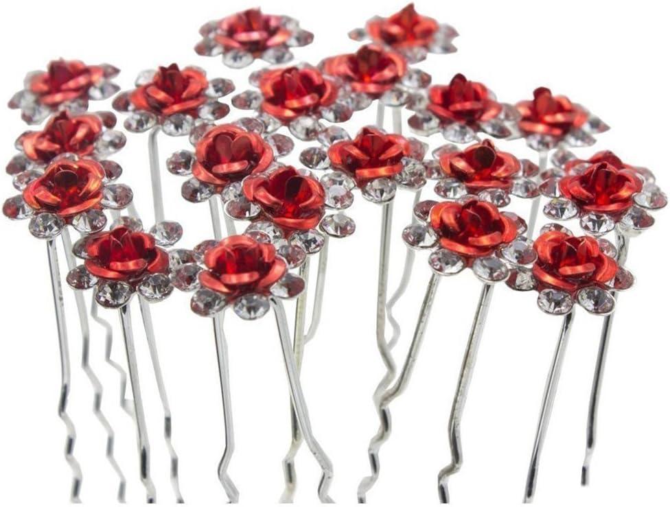 40 STK Nachahmung Blumen Strass Haarnadeln Haarspangen Perlen Haarschmuck f/ür Braut Hochzeit Blau