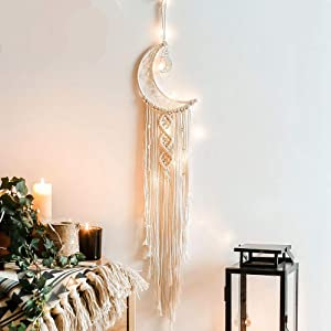 Kaupuar Boho Chic Moon Dream Catcher Decoration with Long Tassel, Macrame Woven Wall Hanging Dreamcatcher Cotton Cord Handmade Bohemian Home Decor Gift for Kids Room,Apartment,Bedroom