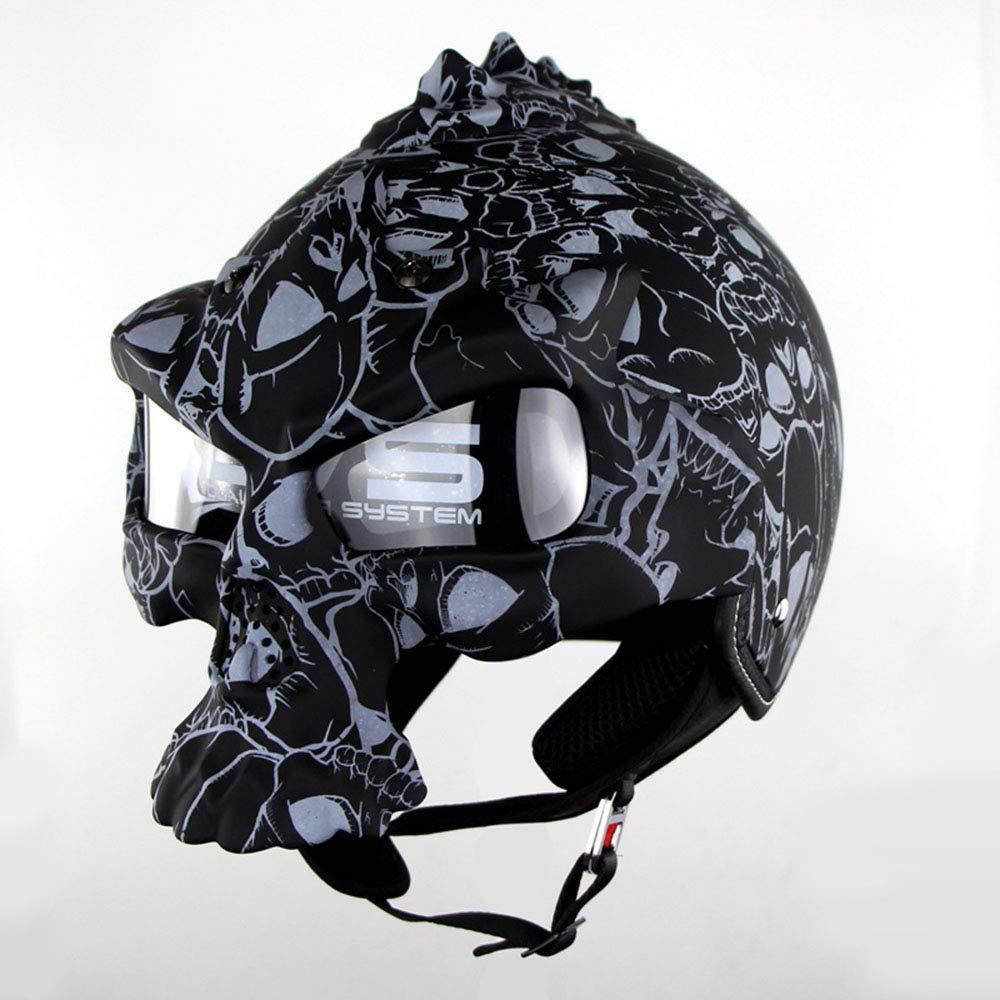 NSZHDY Motorcycle Open Face Half Skull Helmet Motorbike Jet Bobber Chopper Crash Cruiser Helmet Built-in UV Glasses Detachable Mask DOT Certified Moto Dark Knight ,M56~57CM black
