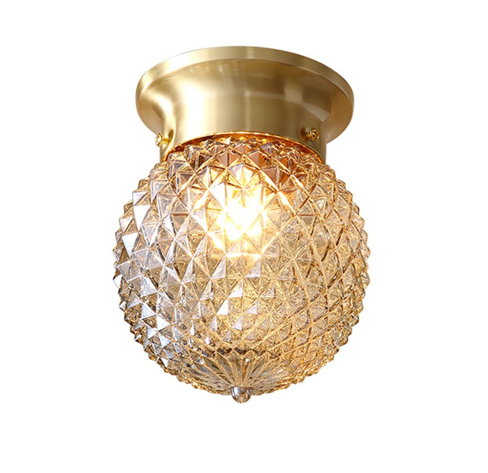 Noxarte pineapple style ceiling light art design brass body glass shade flush mount ceiling lamp lighting fixture for bathroom foyer hallway