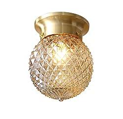 NOXARTE Pineapple Style Ceiling Light Art Design Brass Body Glass Shade Flush Mount Ceiling Lamp Lighting Fixture for Bathroom, Foyer, Hallway
