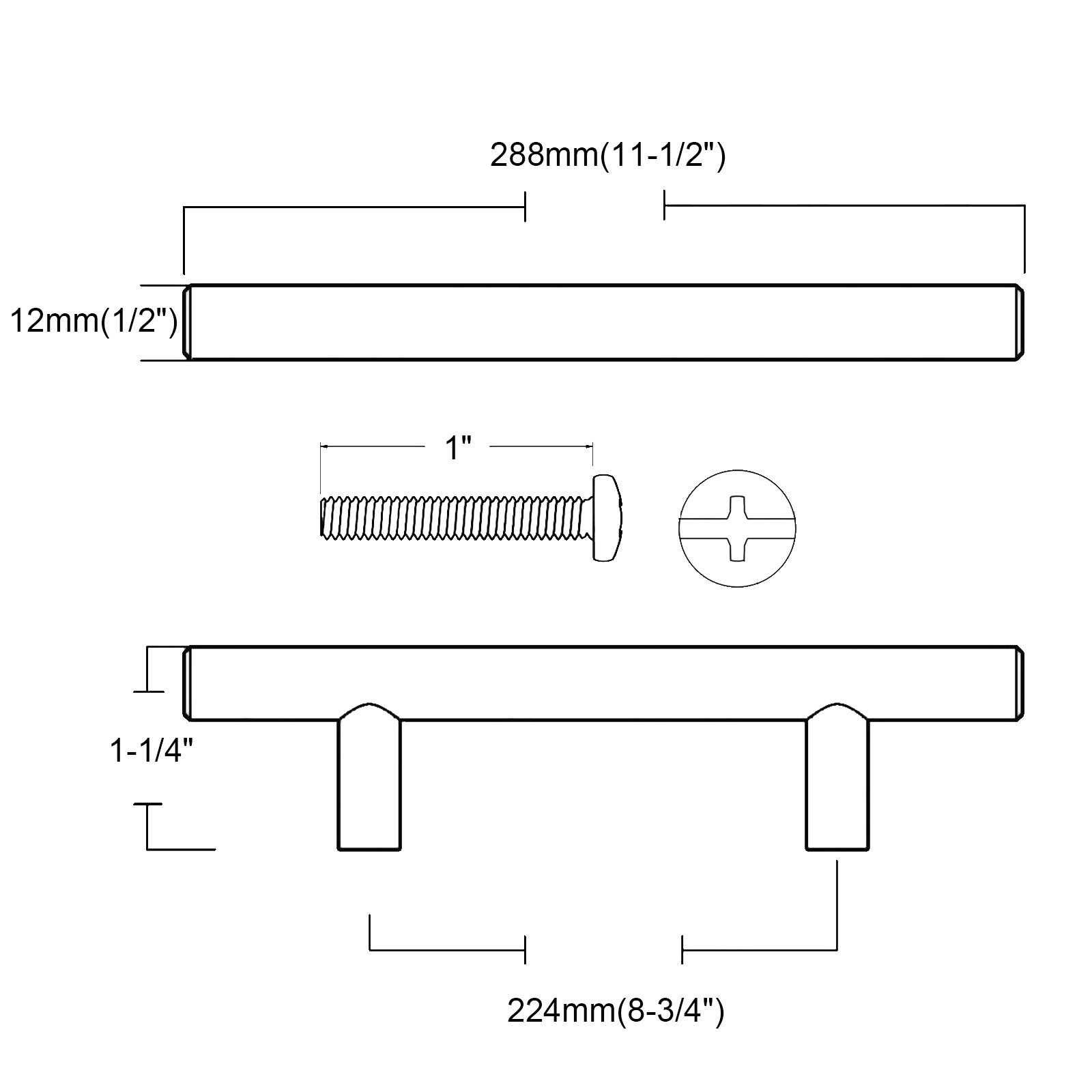Probrico Modern Cabinet Hardware Dresser Cupboard Handle Pull White Kitchen Cabinet T Bar Knobs Stainless Steel- 12mm Diameter - 8-3/4 Hole Spacing - 5 Pack by Probrico (Image #5)