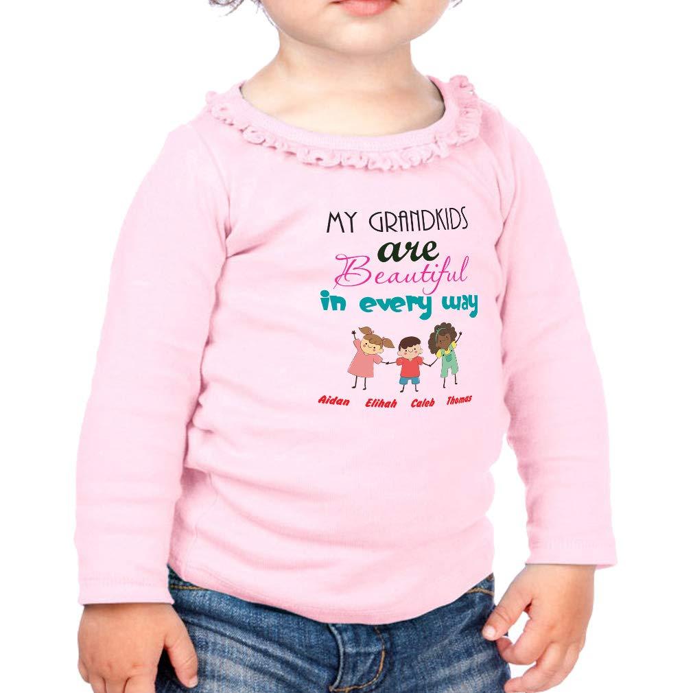 Custom Beautiful in Every Way Cotton Toddler Long Sleeve Ruffle Shirt Top