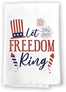 Honey Dew Gifts Kitchen Towels, Let Freedom Ring, 27 inch by 27 inch, 100% Cotton, Multi-Purpose Flour Sack Towels, Home and Kitchen Decor, Housewarming, Birthday, Fourth of July Gifts