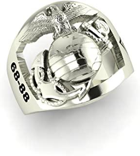 product image for 10K White Gold USMC Men's Ring with Open Back Eagle Globe and Anchor with Years of Service MR10