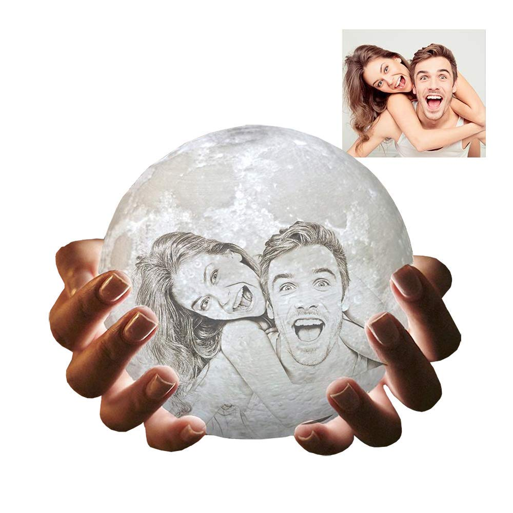 Moon Lamp with Picture 3D Printed Customized Moon Night Light with Stand by Tangsir
