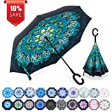 ZOMAKE Double Layer Inverted Umbrellas for Women, Reverse Folding Umbrella Windproof UV Protection Big Straight Umbrella for Car Rain Outdoor with C-Shaped Handle