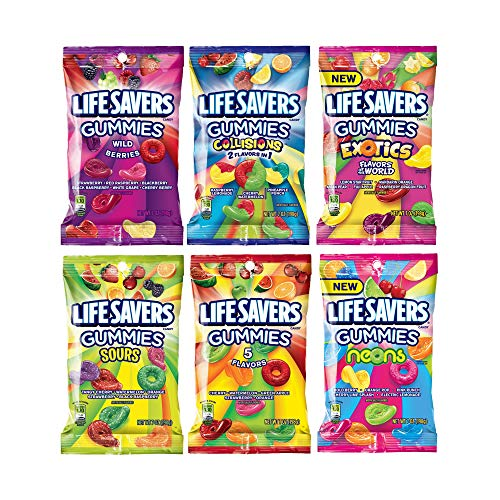 Life Savers Gummies Variety Gift Box – 6 Varieties: 5 Flavor, Exotics, Neons, Sours, Wild Berry and Collisions -