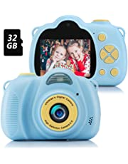 Fede Kinder Kamera mit 32GB TF-Karte, wiederaufladbare Selfie Kamera für Kinder, Kinder Digital-Camcorder mit 2,0 Zoll Bildschirm, HD 8MP/1080P Doppellinse, stoßfeste Kamera mit Silikonhülle(Blau)