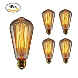 WEDNA 4 Pack ST64 E27 Screw 60W 220V Vintage Light Antique Style Edison Bulb Classic Squirrel Cage Filament