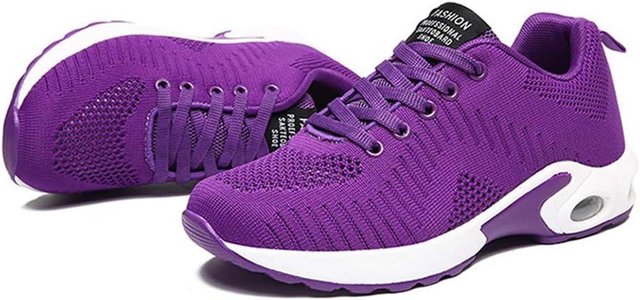 ZPWY Mujer Gimnasia Ligero Sneakers Zapatillas de Deportivos de Running para Volando Tejido Casual Estudiante Volar Sports Shoes 35-42,Purple-40: Amazon.es: Hogar