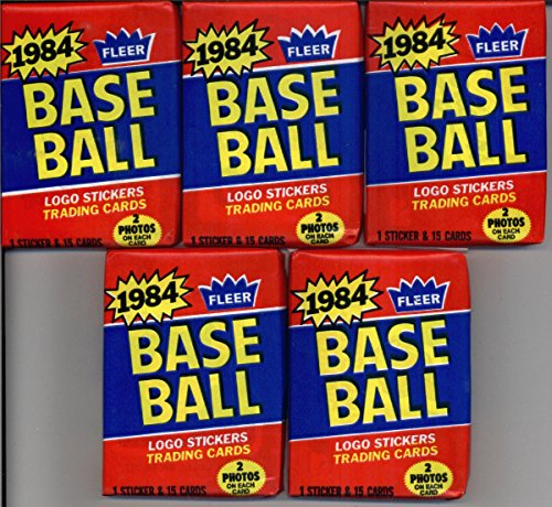 5 Unopened Packs of 1984 Fleer Baseball Cards (15 cards/pack) - Possible Rookies Of Don Mattingly, Darryl Strawberry and more! -