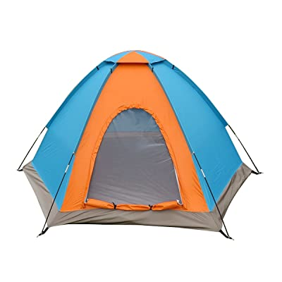 XFAY Large Familiale Tente Dôme pour Six Personnes Camping Plage Maison Enfant - Orange + Bleu