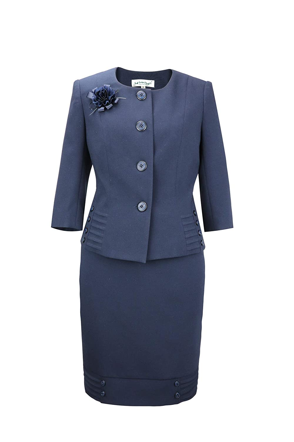 Vintage Suits Women | Work Wear & Office Wear yimiyi Womens Three Quarter Sleeve Plus Size Business Clothing Two-Piece Skirt Sets $63.89 AT vintagedancer.com