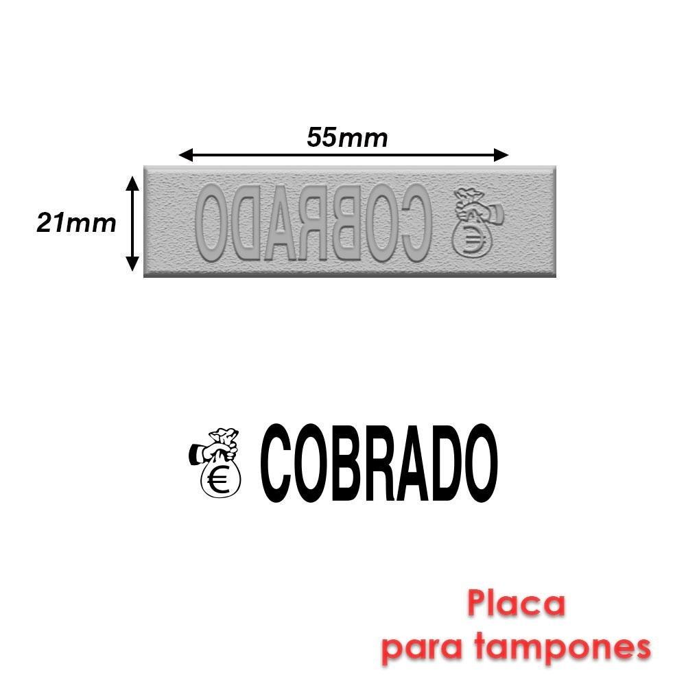 con texto en espa/ñol-Cobrado Sello de caucho para Tamp/ón para sello 55 x 21 mm